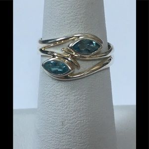 Blue Topaz Marquise & Sterling Silver Ring